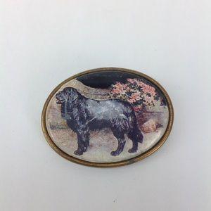Jewelry - Vintage decoupage black Newfoundland broach